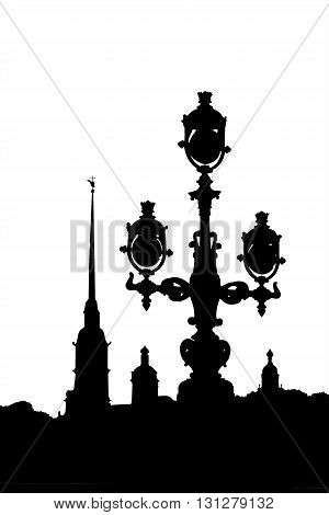 Black-and-white Silhouette Of The Peter Paul Fortress And Streetlight