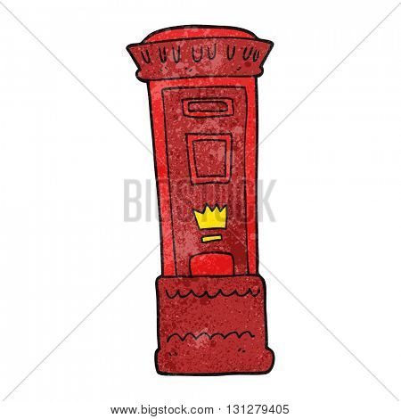 freehand textured cartoon british post box