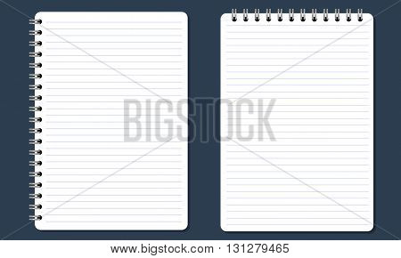 Blank realistic spiral notepad notebook with flat and solid color. Paper with lines. Isolated on solid background. Vector for Display Mock up.
