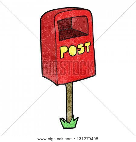 freehand textured cartoon post box