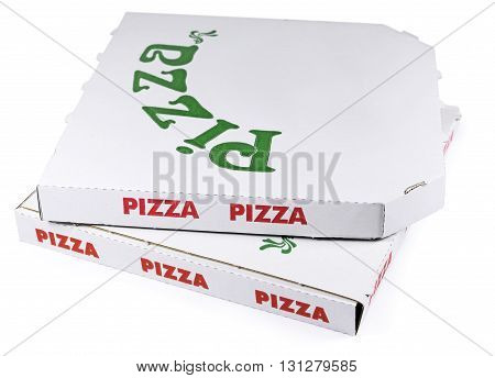 Pizza boxes, isolated on white background. Fast food packaging.