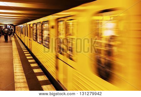 metro train in Berlin, Germany, in motion blur