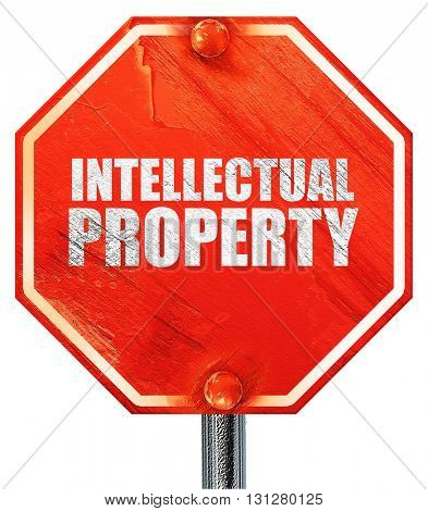 intellectual property, 3D rendering, a red stop sign