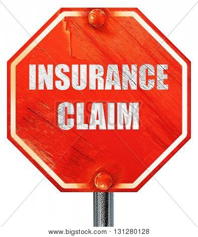 insurance claim, 3D rendering, a red stop sign