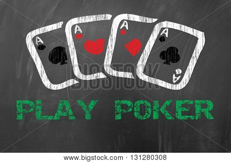Play Poker With Four Aces On School Blackboard