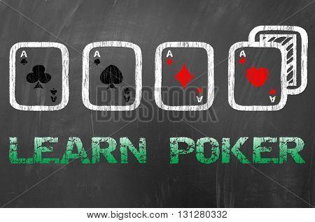 Learn Poker With Four Aces On School Blackboard