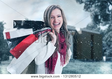 Happy Enthusiastic Shopping Woman On Winter Holidays