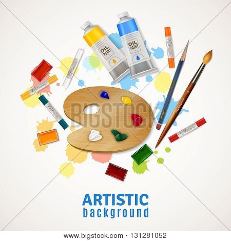 Artistic design concept with palette tubes of oil paints paintbrushes pencil highlighters at white background flat vector illustration
