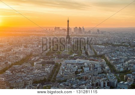 Aerial view of Paris skyline at sunset France