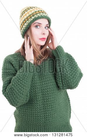Beautiful Female Model Wearing Knitted Hat And Sweater Or Pullover