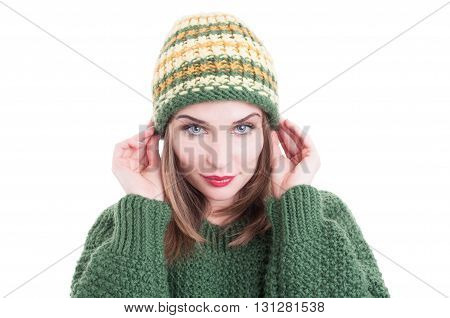Attractive Female Model Wearing Knitted Hat And Sweater Or Pullover
