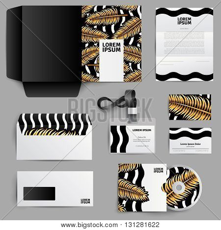 Corporate identity template design of  envelope note disk badge with gold palm leaves ornament  in realistic style isolated vector illustration