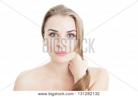 Woman Pulling Her Strong Hair As Beauty Concept