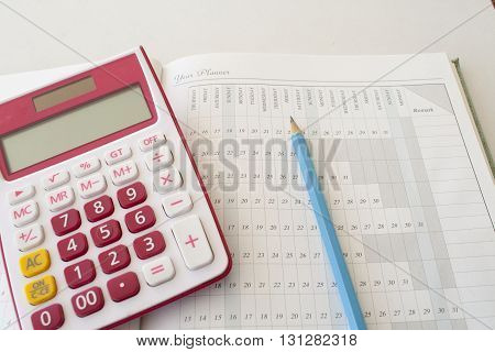notebook for project planning and expenses finance, control money