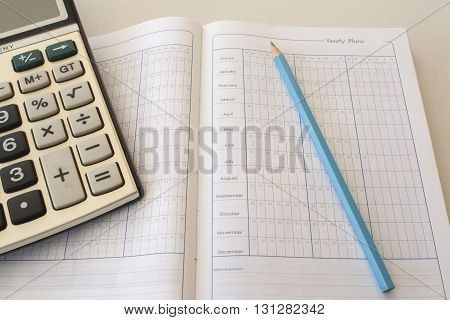 notebook for yearly expenses and planning finance, control memo