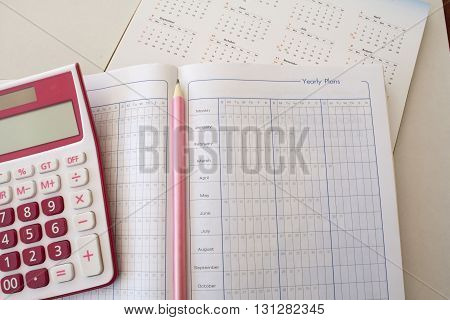 notebook for yearly expenses and planning finance for control memo