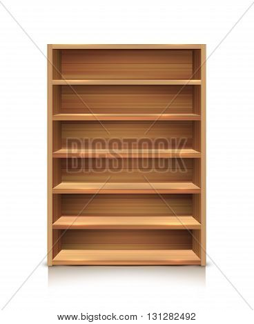 Realistic wooden supermarket shelves icon for product placement in stores isolated and colored vector illustration