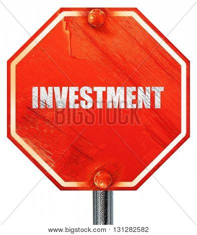 investment, 3D rendering, a red stop sign