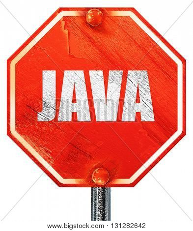 java, 3D rendering, a red stop sign