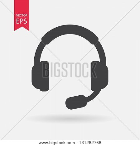 Headphones with Microphone Icon Vector. Headphones with Microphone sign isolated on white background. Headphones with Microphone silhouette. Vector Flat design