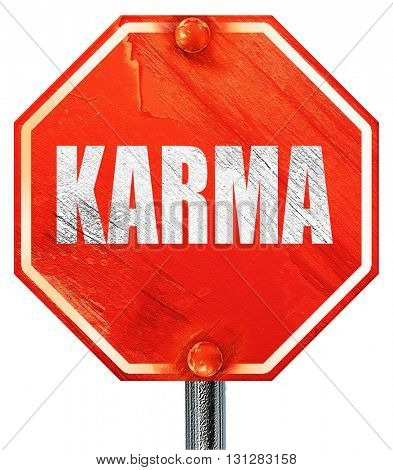 karma, 3D rendering, a red stop sign