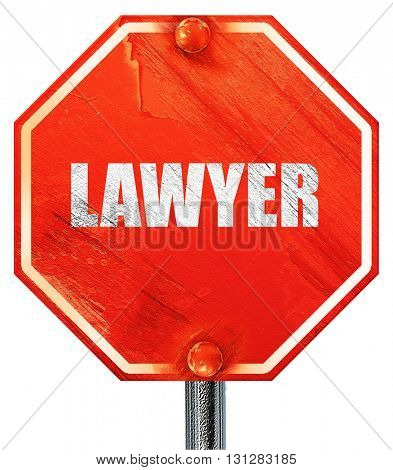 lawyer, 3D rendering, a red stop sign