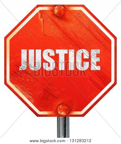 justice, 3D rendering, a red stop sign