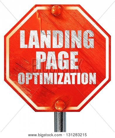 landing page optimization, 3D rendering, a red stop sign