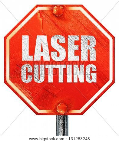 laser cutting, 3D rendering, a red stop sign