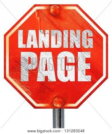 landing page, 3D rendering, a red stop sign