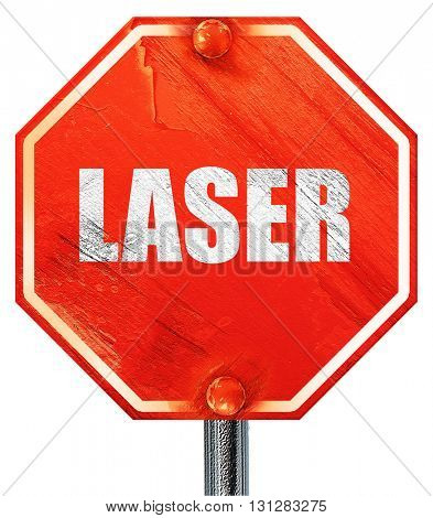 laser, 3D rendering, a red stop sign
