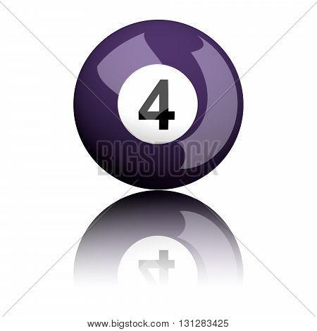 Billiard Ball Number 4 3D Rendering