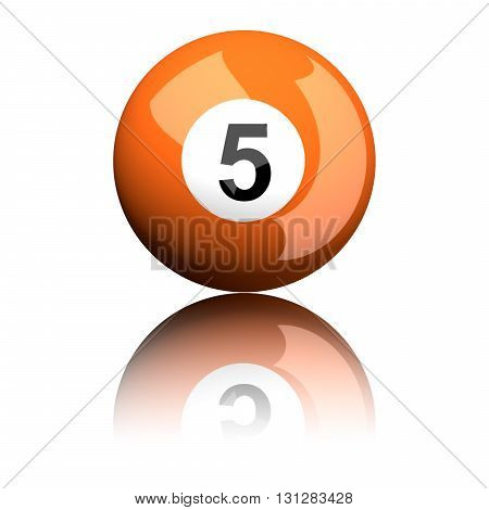 Billiard Ball Number 5 3D Rendering