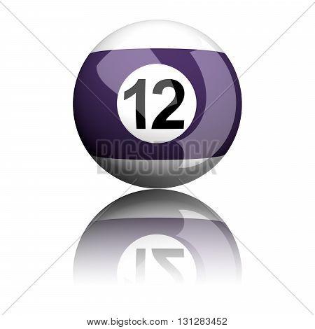 Billiard Ball Number 12 3D Rendering