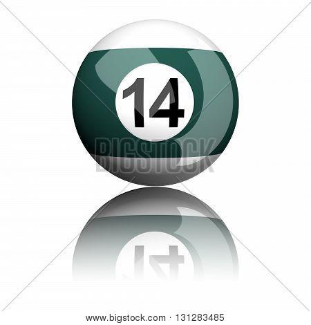 Billiard Ball Number 14 3D Rendering