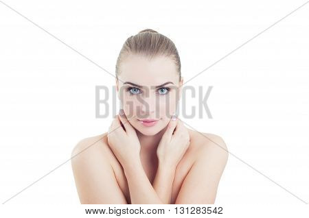Perfect Skin Caucasian Model Isolated On White