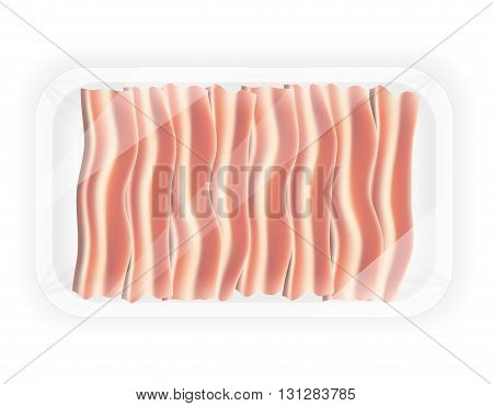 sliced bacon in the package vector illustration isolated on white background