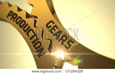 Gears Production - Industrial Design. Gears Production on the Mechanism of Golden Metallic Gears with Lens Flare. Gears Production Golden Cog Gears. 3D.