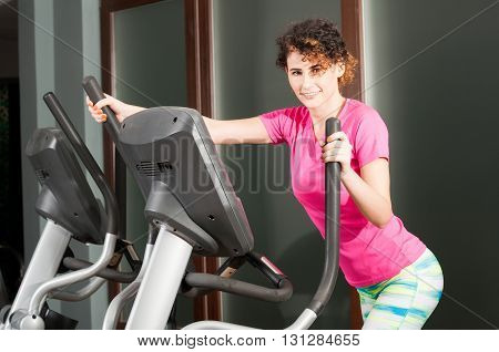 Beautiful Athletic Woman Doing Cardio Exercises On Stepper