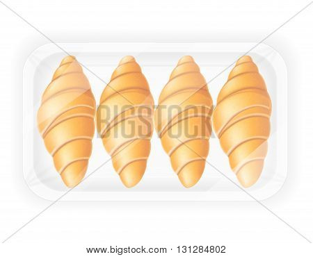 croissant in packaging vector illustration isolated on white background
