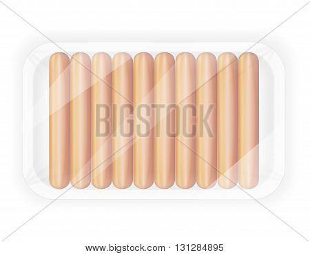 sausage in the package vector illustration isolated on white background