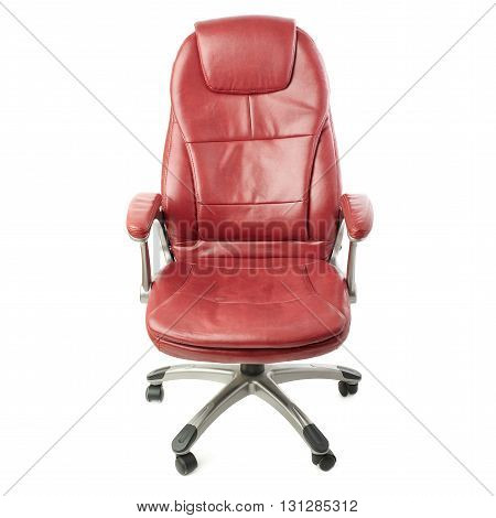 Red leather Office chair over isolated white background