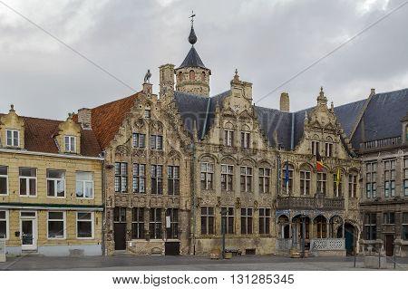 Veurne city hall (Landhuis) on central market square Belgium
