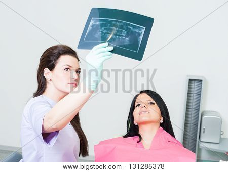 Dentist Doctor Showing Xray To Female Patient