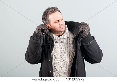 Attractive Male With Leather Gloves And Winter Clothes