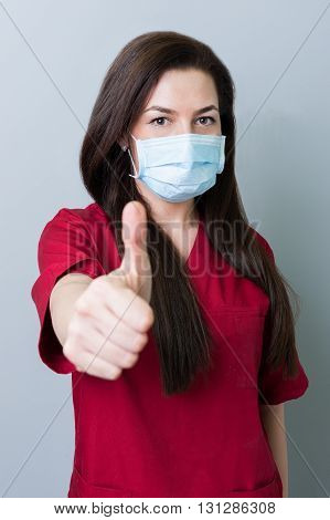 Dentist Woman Showing Thumbup