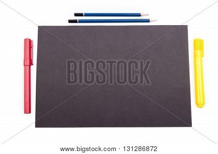 Organized Desktop With Black Copyspace On White Background
