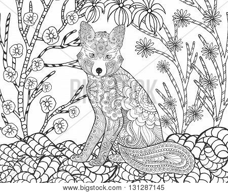 Fox in fantasy forest. Animals. Hand drawn doodle. Ethnic patterned illustration. African, indian, totem tatoo design. Sketch for avatar, tattoo, poster, print or t-shirt.