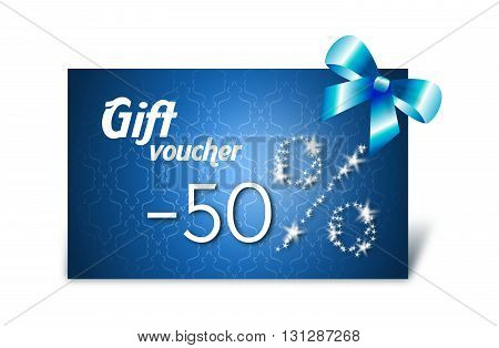 Gift voucher with stars sale decorated with blue bow