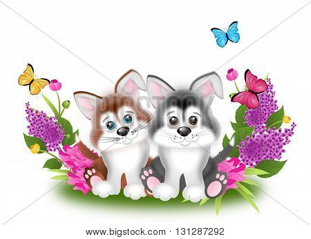 Cute illustration of two puppies with spring flowers